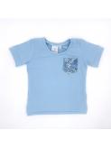 T-shirt enfant fleur bleu fait main